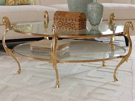 Global Views Brass 48'' Wide Round Coffee Table