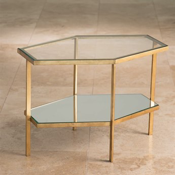 Global Views Hexagon Gold 25'' x 17'' Coffee Table