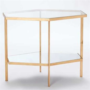 Global Views Hexagon Gold 25'' x 17'' Tall Coffee Table GV882333