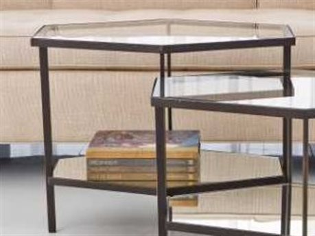 Global Views Hexagon Bronze 25'' x 17'' Tall Coffee Table