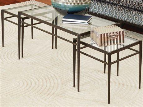 Global Views Dark Gunmetal Bronze Powder Coat / Gold Edges/highlights 36'' Wide Rectangular Coffee Table