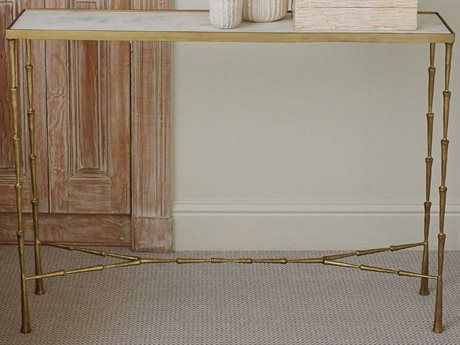 Global Views Antique Brass 44'' Wide Rectangular Console Table