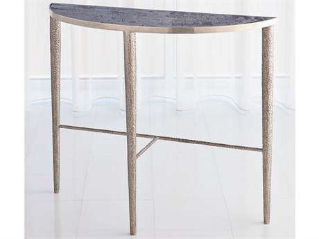 Global Views Antique Nickel 39'' Wide Demilune Console Table