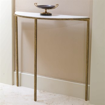Global Views Gold Leaf 38'' Wide Demilune Console Table