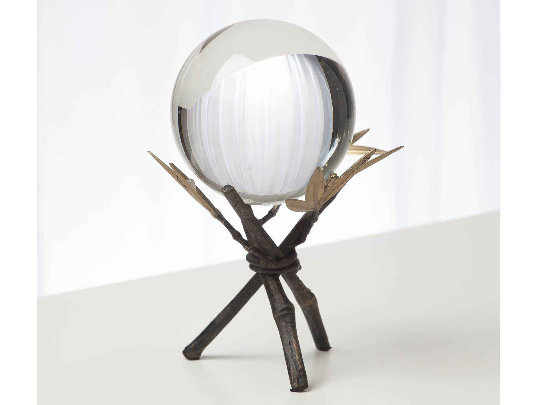 Global Views Bamboo Stand with Sphere Small Bronze Decorative Accent
