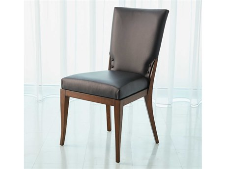 Global Views Black Leather / Walnut Side Dining Chair