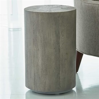 Global Views Grey Sandblasted 12'' Wide Round Drum Table
