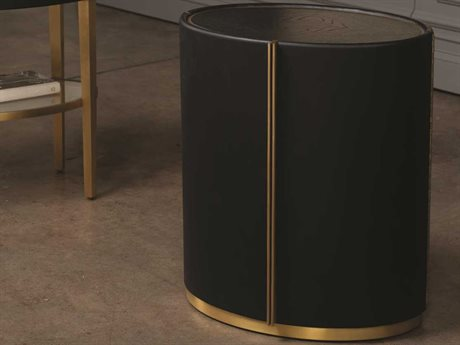 Global Views Black Lacquer 30 Sheen / Brushed Brass 20'' Wide Round Drum Table GVAG220021