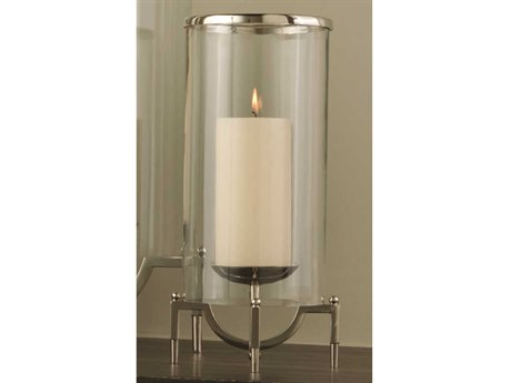 Global Views Elevated Hurricane Small Nickel Candle Holder