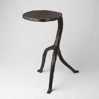Global Views Antique Bronze 12'' Wide Round End Table