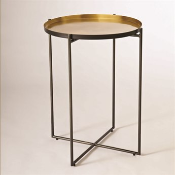 Global Views Clear Anti-scratc Zinc Powder Coat / Anti-scratch Brass 19'' Wide Round End Table