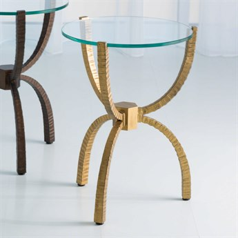 Global Views Gold 18'' Wide Round End Table