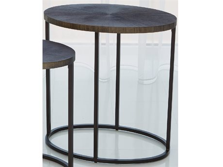 Global Views Antique Aluminum 23'' Wide Oval End Table
