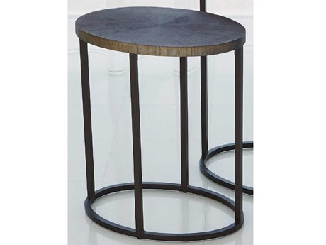 Global Views Antique Aluminum 18'' Wide Oval End Table