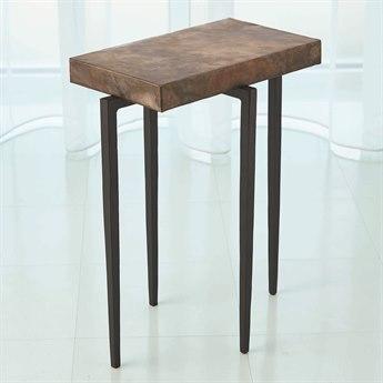Global Views Black/brown 16'' Wide Rectangular End Table