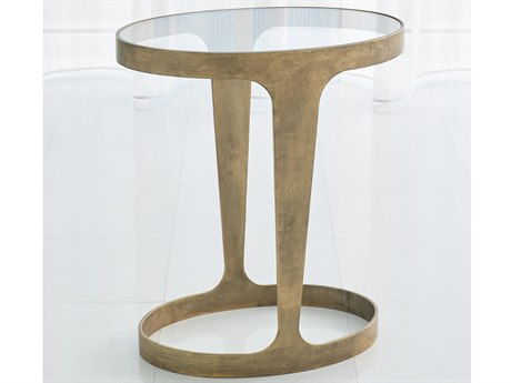 Global Views Antique Gold 17'' Wide Oval End Table