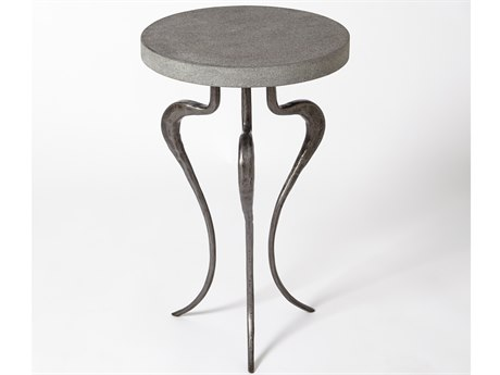 Global Views Natural Iron 13'' Wide Round End Table
