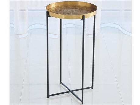 Global Views Antique Brass 13'' Wide Round End Table