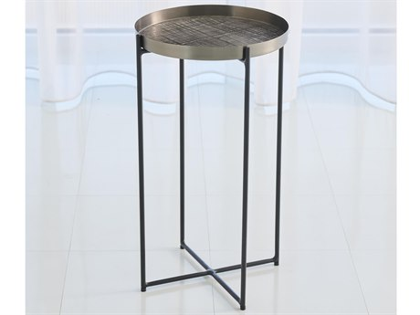 Global Views Black Nickel 13'' Wide Round End Table