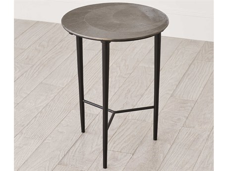 Global Views Antique Nickel 16'' Wide Round End Table
