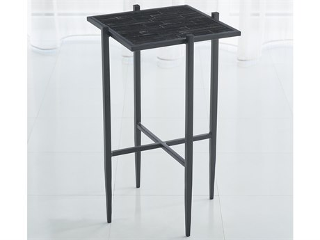 Global Views Black 13'' Wide Square End Table