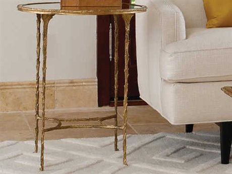 Global Views Burnished Brass 21'' Wide Round End Table