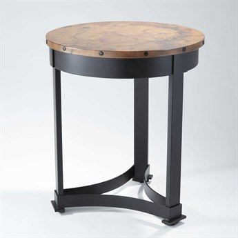 Global Views Brown / Black Powder Coat Antique Copper 24'' Wide Round End Table