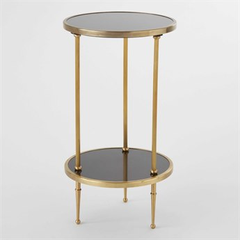 Global Views Antique Brass 12'' Wide Round End Table GV991248
