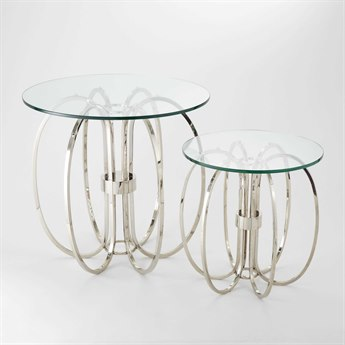 Global Views Nickel 28'' Wide Round End Table GV991369