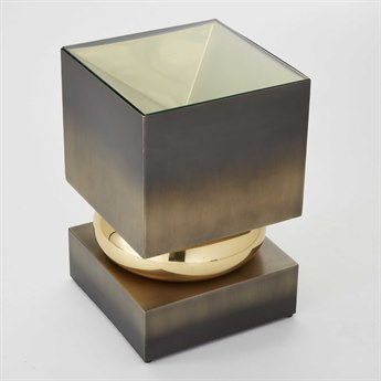 Global Views Brass / Bronze 12'' Wide Square End Table