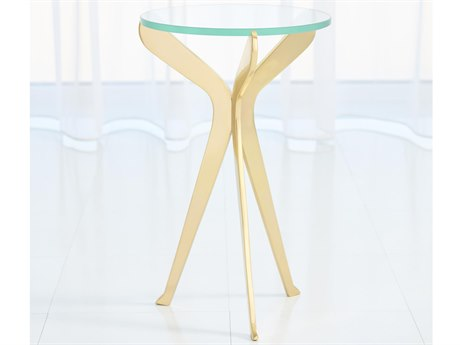 Global Views Brass 12'' Wide Round End Table