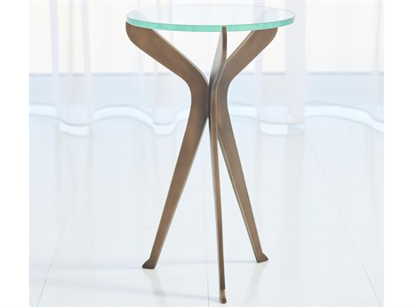 Global Views Light Bronze 12'' Wide Round End Table