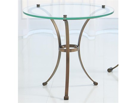 Global Views Light Bronze / Brass 20'' Wide Round End Table