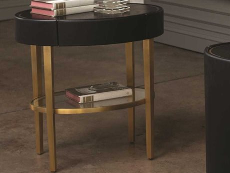 Global Views Black Lacquer 30 Sheen / Brushed Brass 24'' Wide Round End Table