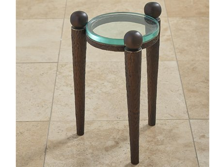 Global Views Bronze 11''W x 16''H Round End Table