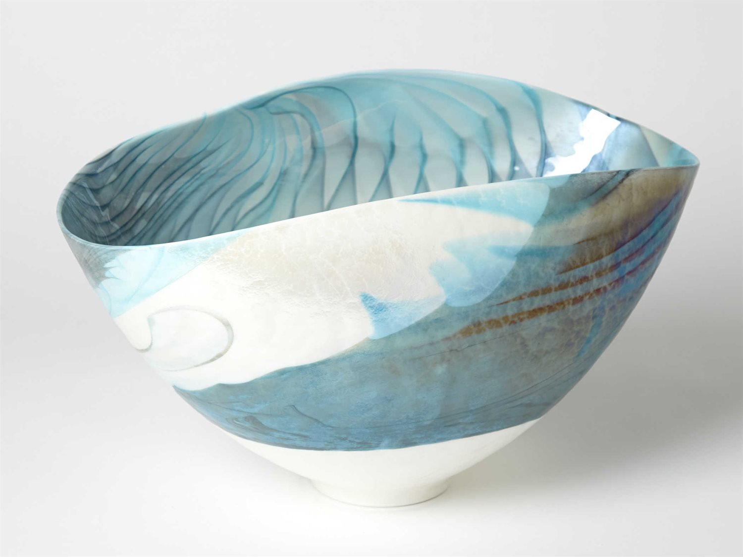 Global Views Feather Swirl Ivory Turquoise Small Decorative Bowl