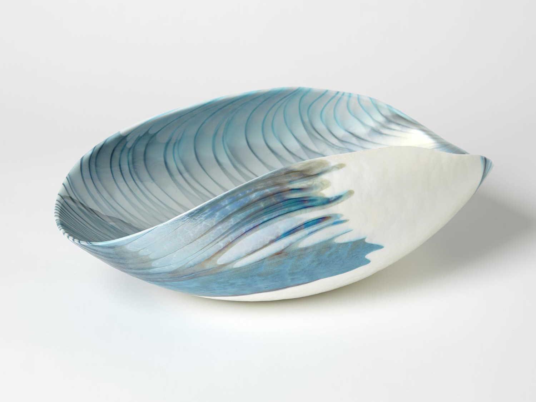 Global Views Feather Swirl Ivory Turquoise Decorative Folded Bowl