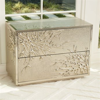 Global Views Silver Flower Burst 2 Drawer Cabinet GV992666