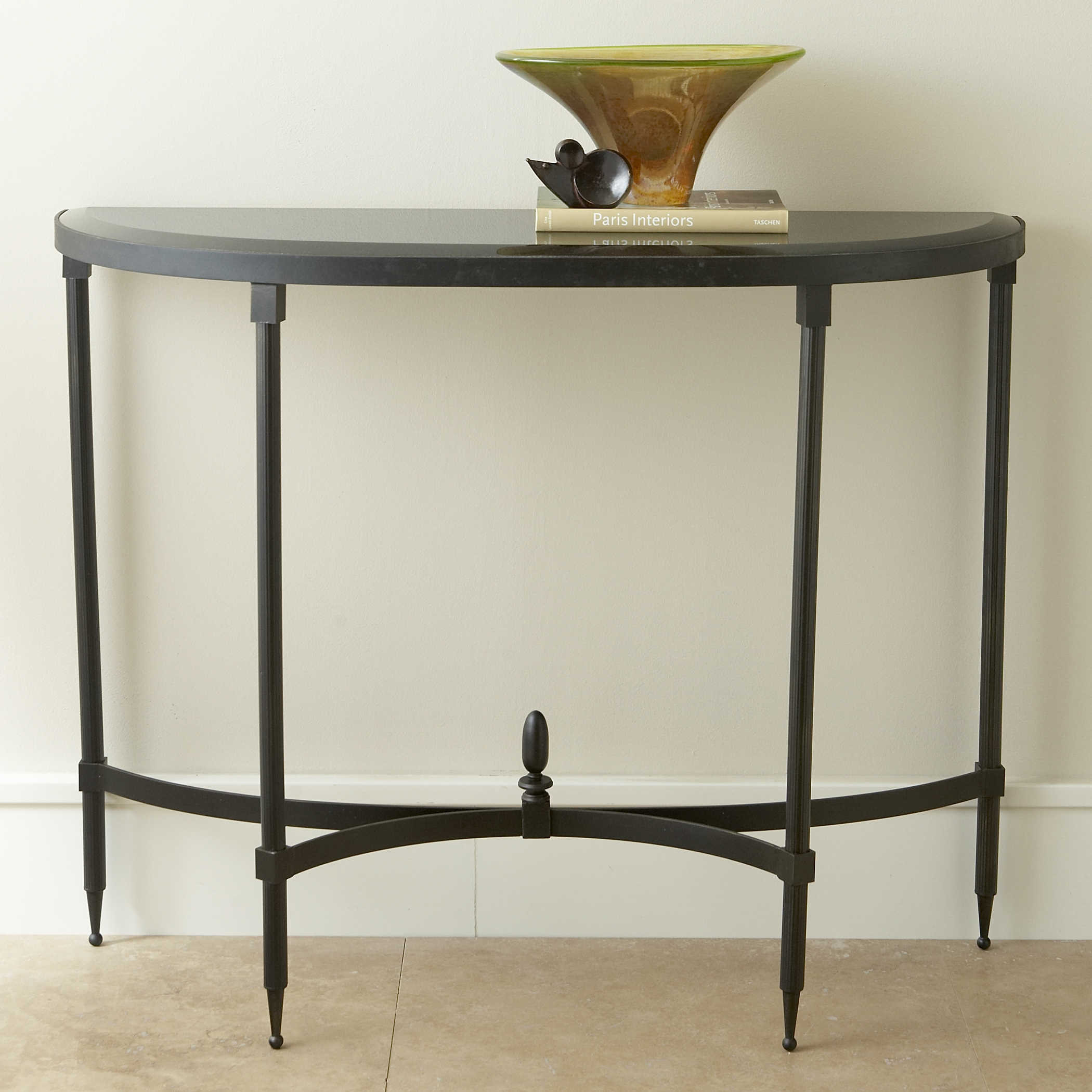 Global Views Fluted Iron Collection Bronze with Granite 42\'\' x 13.75\'\'  Demilune Console Table