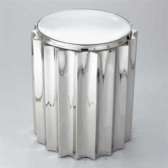 Global Views Fluted Nickel 18'' Round Column Drum Table GV992133