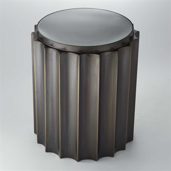 Global Views Fluted Bronze 18'' Round Column Drum Table GV992134