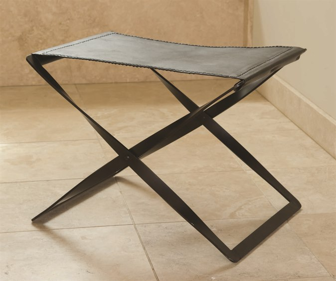 Global Views Iron Brown Leather Folding Stool Gv9679