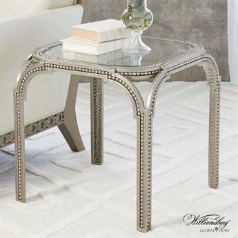 Global Views Forged Pearl Nickel 21'' Square Side Table GV490124