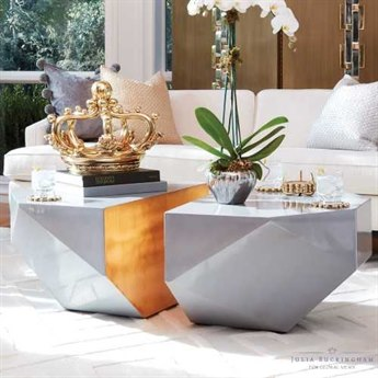Global Views Gema Lacquered Gold Leaf 33'' x 46'' Coffee Table GVJB2115