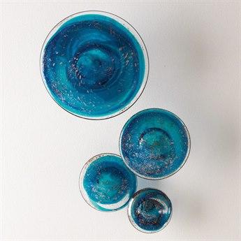 Global Views Blue Mushrooms Four-Piece Glass Wall Art Set GV881936