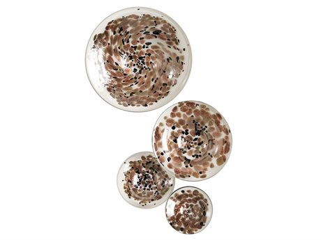 Global Views Metallic Mushrooms Four-Piece Glass Wall Art Set