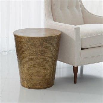 Global Views Izmir Hammered Antique Brass 15.75'' Round Drum Table GV790163