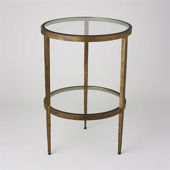 Global Views Laforge Antique Gold 16'' Round Two-Tiered Side Table