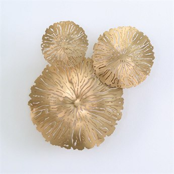 Global Views Antique Brass Lily Pad Clusters Three-Piece Wall Art Set GV790565
