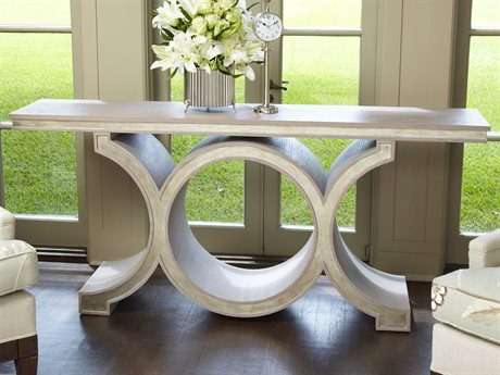Global Views Link Grey / Silver Leaf 72'' x 15'' Console Table GV2462